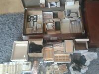 Job lot vintage dolls house furniture and accessories brown suit case included