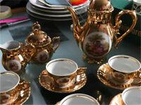 Vintage Gold Lustre Bondware Miniature Fine China Coffee Set Excellent Condition