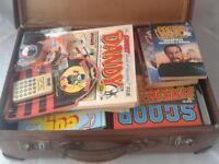 Vintage job lot annuals beano comics suite case