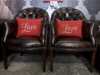 Stunning Refurbished Pair of Chesterfield Brown Leather Tub Chairs - UK Delivery