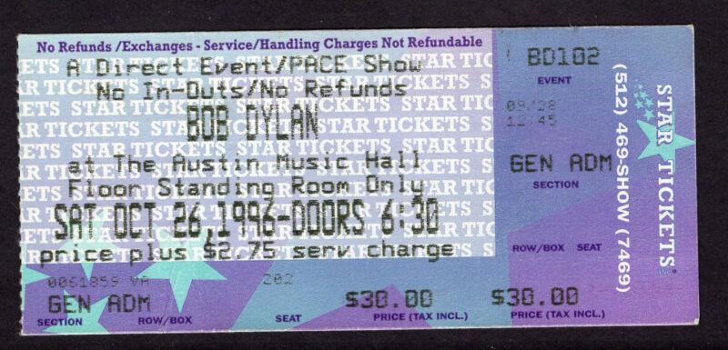 1996 Bob Dylan Charlie Sexton Concert Ticket Stub Austin Tx World Gone Wrong