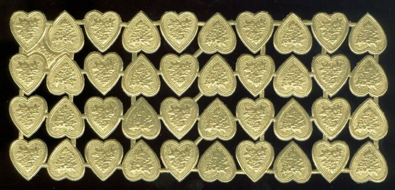 Scrap Die Cut German Dresden Gold Foil Paper Floral Hearts Victorian Crafts