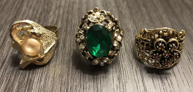 Vintage Cocktail Rhinestone Green Gold Tone Adjustable Ring Lot Costume Jewelry