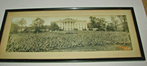 1926 Rare Panoramic Photo President Coolidge BSA Boy Scouts at the White House