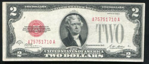 """FR. 1502 1928-A $2 TWO DOLLARS LEGAL TENDER UNITED STATES NOTE """"SEMI KEY"""" VF+"""