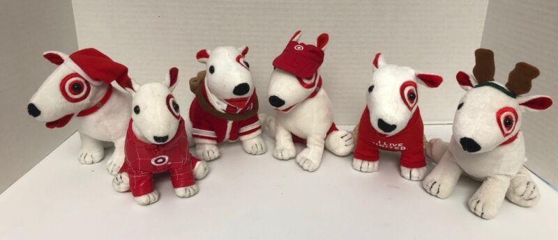 """(6) Target BULLSEYE 7"""" Plush LOT Bull Terrier UNITED WAY Recruiting Messenger"""