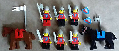 ViNtAgE 1979 LEGO Lot 6 KNIGHT PROCESSION Minifig From Castle Set 677 w/2 Horses