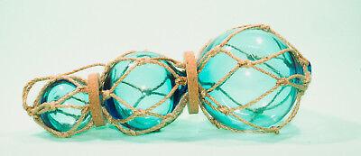 1 Satz von 3 in einer Reihe Hellblau Glas Schwimmer 38.1cm Lang ()