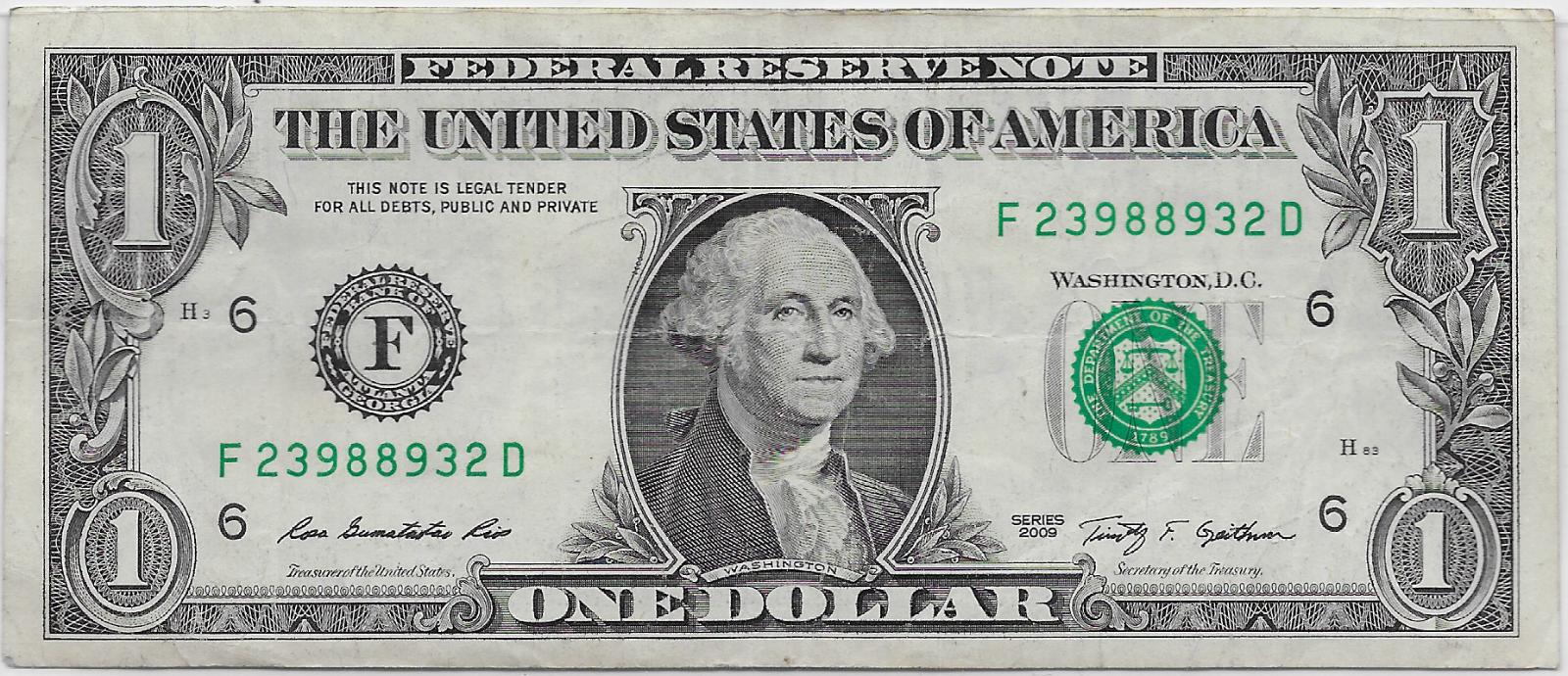 1 Bill Series 2009 RADAR 2398 8932 Lot T981 2 - $9.75