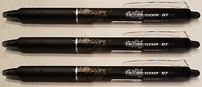 Pilot Frixion Clicker Erasable Gel Ink Pen 0.7mm Black Fine 3 Pc. 31474