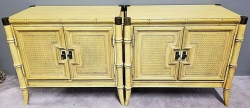 (2) STANLEY Faux Bamboo + Brass Accents Nightstands Side End Tables Cabinets