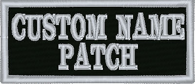 """2 line Custom Embroidered 3.5"""" x 1.5""""  Name Tag Patch Motorcycle Biker"""