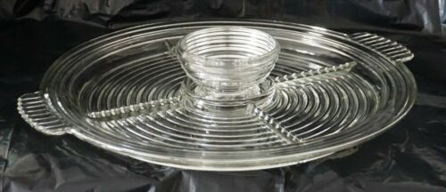 "Anchor Hocking Depression Glass Clear Manhattan 14"" Divided Relish Center Bowl"