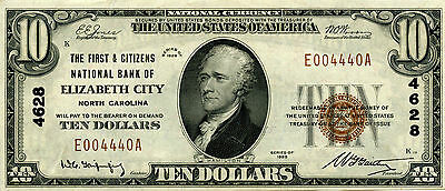 1929 Series The First   Citizens National Bank Of Elizabeth City Nc   10 Note