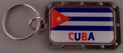 CUBA Cuban Flag Metal Key Ring DOMED IMAGE
