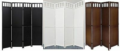 4-panel Screen Room Divider Solid Wood, Black, ...
