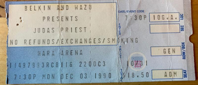 1990 Judas Priest Megadeth Testament Hara Arena Dayton OH Concert Ticket Stub