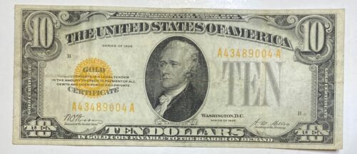 1928 Small $10 Gold Certificate Currency Note Serial #43489004