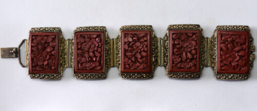 "Antique Chinese Cinnabar and Brass Floral Filigree Bracelet 6.5"" Long"