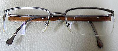 Ermenegildo Zegna semi-rimless eyeglasses frame - adorned with wood-Italy-Mint