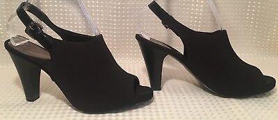 Mootsies Tootsies Heels Black Sling Back Ankle Buckle Stretch Peep Toe Sz 9.5M Stretch-peep-toe