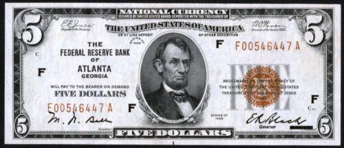Fr.1850-F $5 1929 Federal Reserve Bank Note Atlanta Choice Crisp Uncirculated