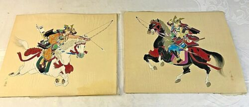 Antique Pair of Japanese Asian Paintings on silk Warrior on Horseback