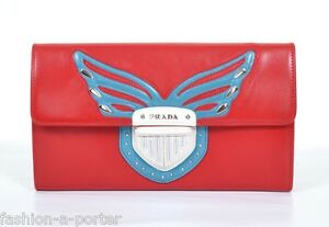 PRADA-MILANO-ROCK-WINGS-LEATHER-RED-CLUTCH-LARGE-WALLET-BNWT-100-AUTHENTIC