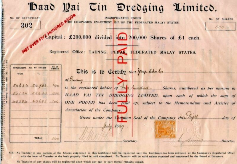 ~~Haad yai tin dredging limited--1929 share transfer doc