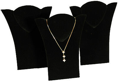 3 New Black Velvet Padded Necklace Pendant Display 6