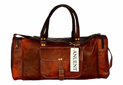"""Men genuine goat leather 24"""" brown duffle travel gym weekend overnight bag NEW"""
