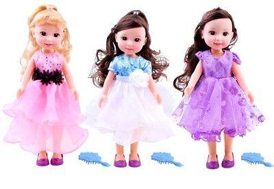 Puppe mit lange Haaren Spielpuppe klassische hübsches Ballkleid Schönheit 32 cm (Puppe Mit Haar)