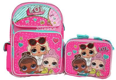 "L.O.L SURPRISE! Large 16"" Backpack & Lunch bag 2 pc  LOL Pink Backpack New"