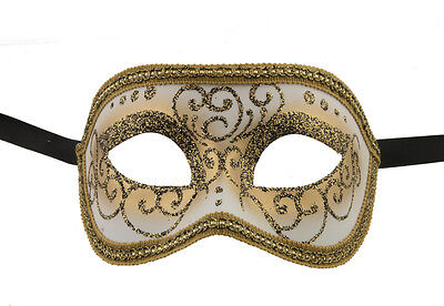 Mask from Venice Colombine or Civet Cream Golden for Fancy Dress 1050