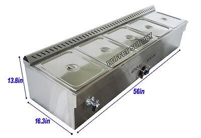 5 Pans Lp Gas Bain Marie Buffet Food Warmer Steam Table 56 Inch