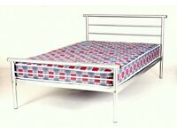 NEW Hercules Small Double 4ft Silver Steel Bed Frame Including Mattress - NOT leather, wooden