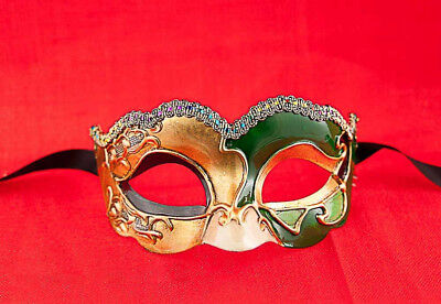 Mask from Venice Colombine Civet Nuvella Green and Golden for Fancy Dress 685