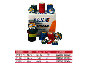 PANFILM-10-PIEZAS-CINTA-AISLANTE-ELECTRICISTA-PVC-NERO-19MM-25MT-ADHESIVO