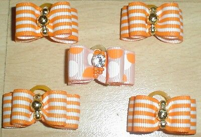 Pretty Orange Striped/Patterned Show Type Dog Grooming Bows Bead Centre