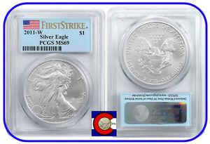 2011-W Burnished Silver American Eagle, PCGS MS69 First Strike w Flag Label Coin
