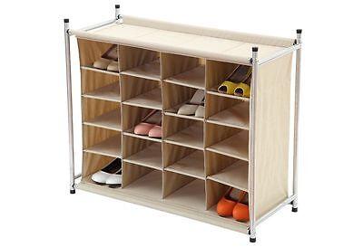 StorageManiac 5-Tier, 20-Pair Free Standing Polyester Canvas Shoe Rack Organizer