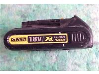 Dewalt 18v 1.5 battery used works perfectly hold ps charge etc