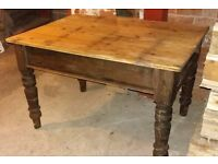 Antique Pine Country Kitchen Table