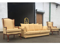 Light yellow fabric sofas and 2 wing chairs DELIVERY AVAILABLE