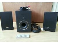 Teac audio sub two speakers and remote in good used condition!for pc Can deliver or post!