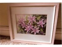 """PINK CLEMATIS"" FRAMED WATERCOLOUR PAINTING"