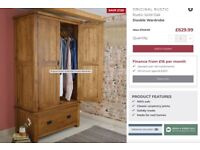 Solid Oak Double Wardrobe with Drawers (1 of 2)