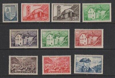 French Andorra 1949 - 1951 Sc #114 - 123 MH OG Set CV $122.15