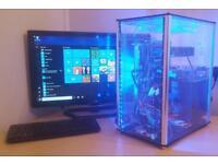 Gaming tower custom built Perspex blue LED