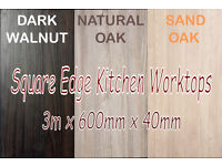 Walnut & Qak Kitchen Worktops, Square Edge, for the top of units, suit any doors, Glasgow